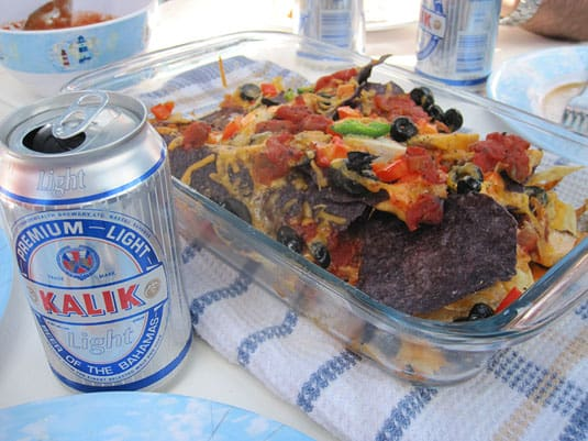 Nachos go well with a refreshing Kalik, the beer of the Bahamas!