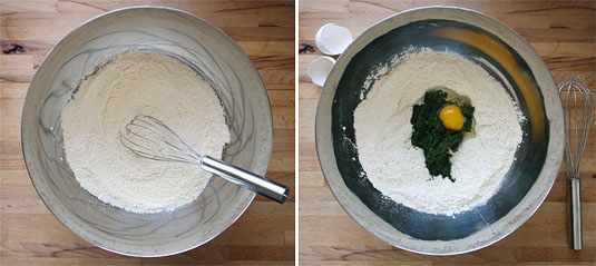 Mixing the dry ingredients together; making a well and adding spinach and egg in the middle of it.