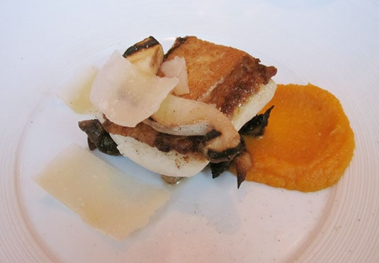 Bloesem, Amsterdam: Grilled fillet of halibut with creamed pumpkin, cpes and parmesan cheese