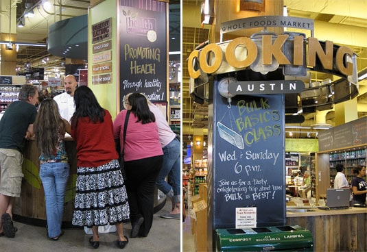 A chef answers customers' questions; a preview of upcoming cooking classes at Whole Foods Market Lamar, Austin, Texas