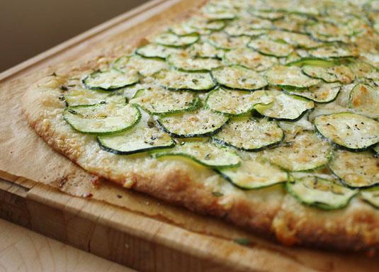 Zucchini, Buffalo Mozzarella & Thyme Roman-Style Pizza