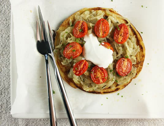 Yotam Ottolenghi's Socca (Chickpea flour pancakes with caramelized onions and roasted cherry tomatoes, from Plenty, p. 224)