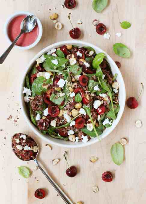 Red Rice, Cherry, Baby Spinach, and Hazelnut Salad