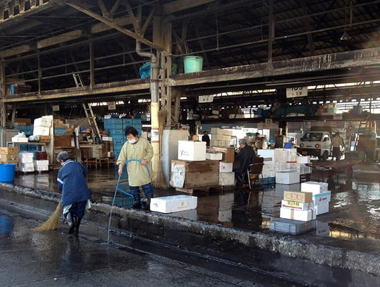 Cleaning up after a busy morning at Tokyo's Tsukiji Fish Market