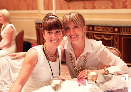 My roommate, Melanie Saucier (melaniesaucier.com) and I at Alt Summit's Diner en Blanc