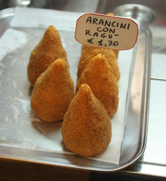 Cone-shaped arancini in Catania, Sicily