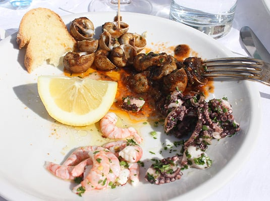 A light lunch: Sea snails, octopus and fresher than fresh shrimp. With lots of lemon, of course.