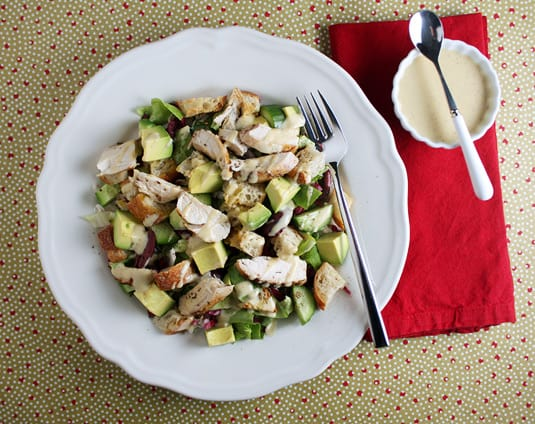 Radicchio Salad with Tahini Lemon Drizzle, served with grilled chicken and croutons, a recipe from Ripe: A Fresh Colorful Approach to Fruits and Vegetables by Cheryl Sternman-Rule and Paulette Phlipot