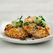 Asian crab cakes with avocado-wasabi sauce, by Love &amp; Lemons