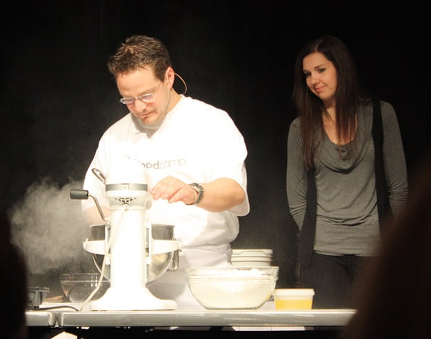 Chef Frédéric Laplante (La Tanière) playing around with liquid nitrogen.