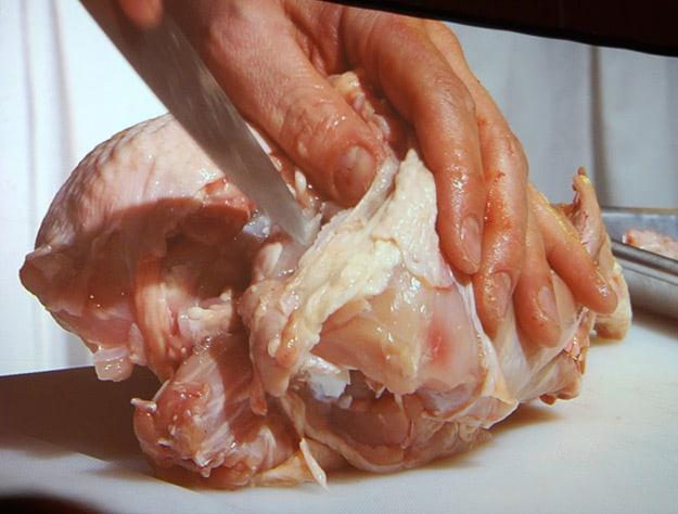 Raw chicken on 20-feet screens, courtesy of Chef Danny St-Pierre.