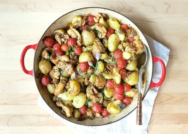 Chicken Thigh Casserole with New Potatoes and Tomatoes | Food Nouveau