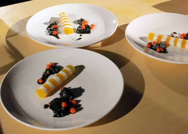 Chef Derek Dammann used huitlacoche in a sweet dish along with corn milk, maple syrup and seabuckthorn. At the Omnivore Food Festival, Montreal. / FoodNouveau.com