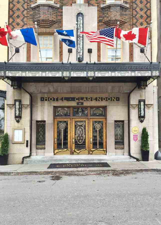 The historic façade of Hôtel Clarendon, one of the Most Romantic Hotels in Quebec City //  FoodNouveau.com