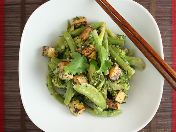 Green Vegetables, Miso and Sweet Sesame Salad // FoodNouveau.com