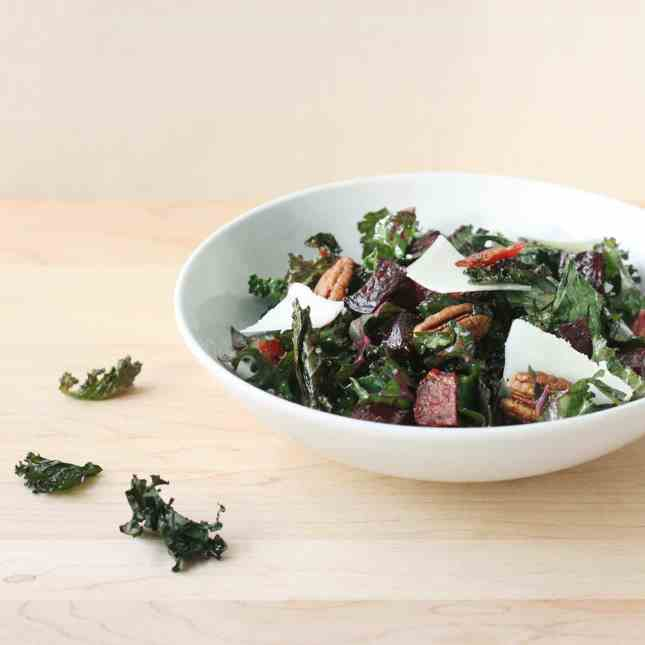 Crispy and Raw Kale, Beets, and Pecan Salad // FoodNouveau.com