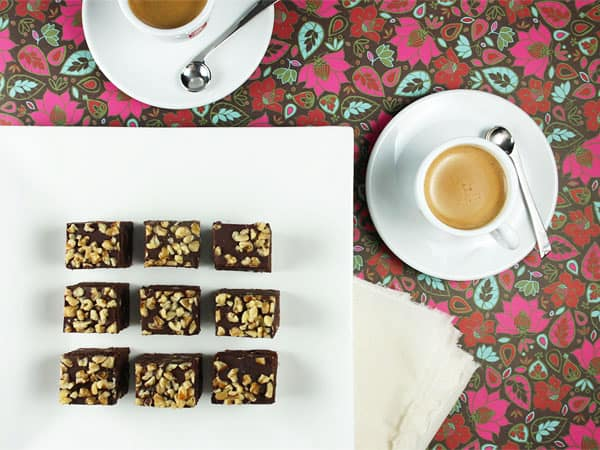Coffee-Infused Brownies with Dark Chocolate Glaze and Walnuts // FoodNouveau.com