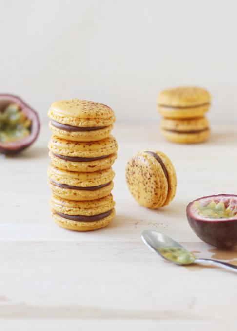 Milk Chocolate and Passion Fruit Macarons