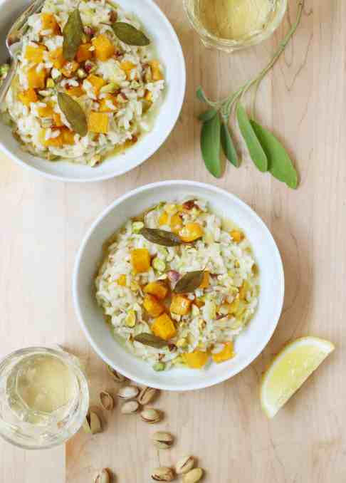 Roasted Butternut Squash, Pistachio, and Brown Butter Risotto with Fried Sage Leaves