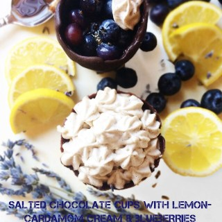 Salted Chocolate cups with Lemon-Cardamom Cream and Blueberries