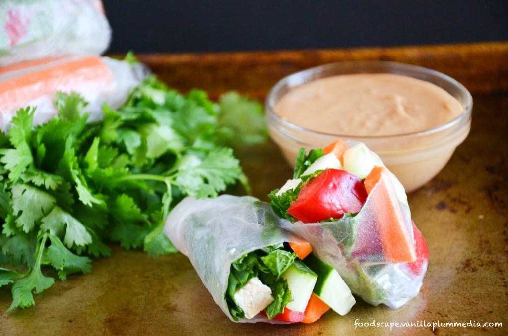 Sweet Potato Spring Rolls with Peanut Sauce