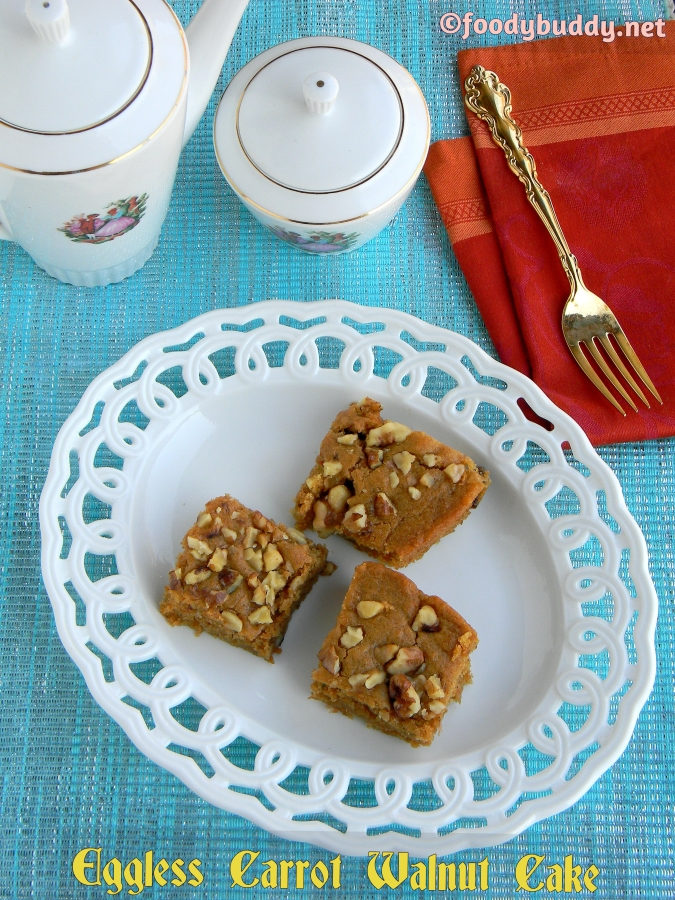 Carrot Cake / Eggless Carrot Walnut Cake (No Butter)
