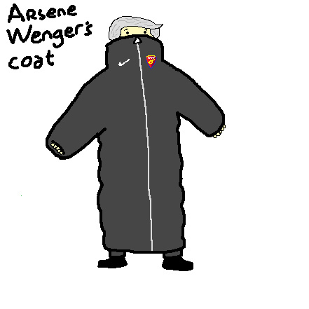 A crude sketch of Arsene Wenger's coat