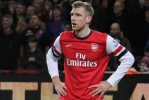 Per Mertesacker's red card formed the basis for some of the Arsenal jokes after their 1-0 defeat at home to Chelsea