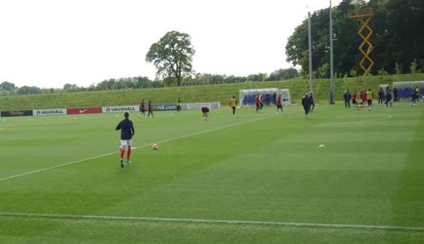 A fan gatecrashes England's training session at St. George's Park