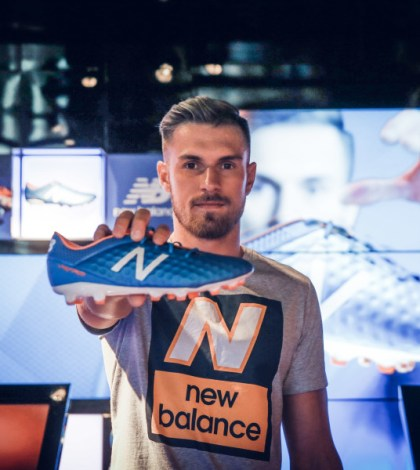 LONDON, ENGLAND - JULY 08:  New Balance player, Arsenal's Aaron Ramsey attends the launch of the New Balance Visaro and Furon boot at Pro Direct LDN19 on Carnaby Street on July 8, 2015 in London, England.  (Photo by Scott Heavey/Getty Images for New Balance)