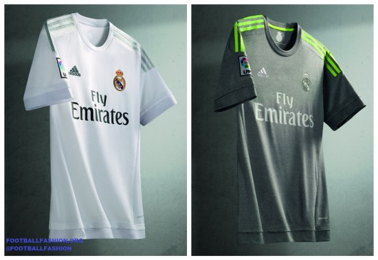 Real Madrid 2015 2016 adidas White Home and Gray Away Football Kit, Soccer Jersey, Shirt, Camiseta de Futbol, Nueva Equipacion