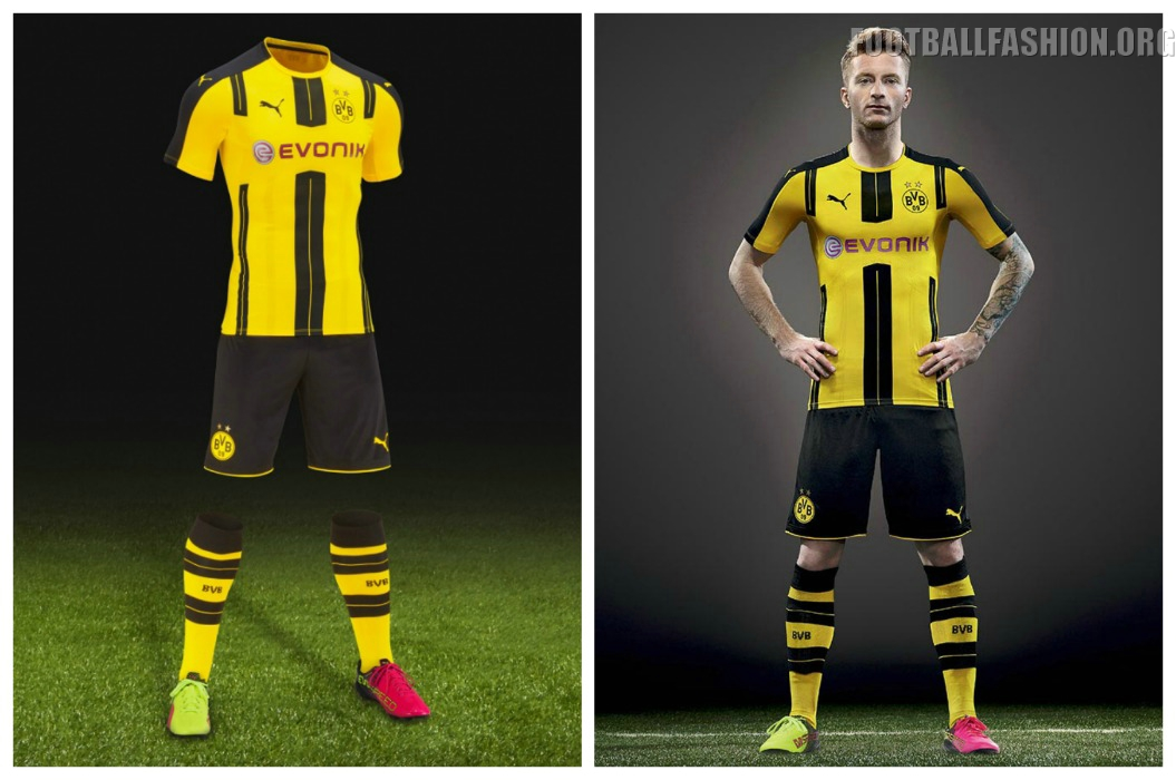 borussia dortmund 2016 17 puma home kit football fashion org. Black Bedroom Furniture Sets. Home Design Ideas