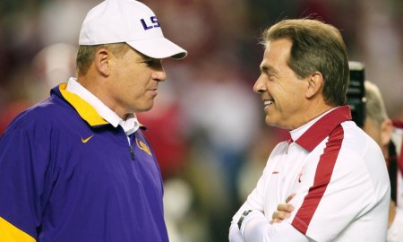 ORG XMIT: USPW-35096 Nov 5, 2011; Tuscaloosa, AL, USA;  LSU Tigers Head Coach Les Miles talks with Alabama Crimson Tide Coach Nick Saban before the game at Bryant Denny Stadium. Mandatory Credit: Marvin Gentry-US PRESSWIRE ORIG FILE ID:  20111105_tjg_sg8_551.JPG