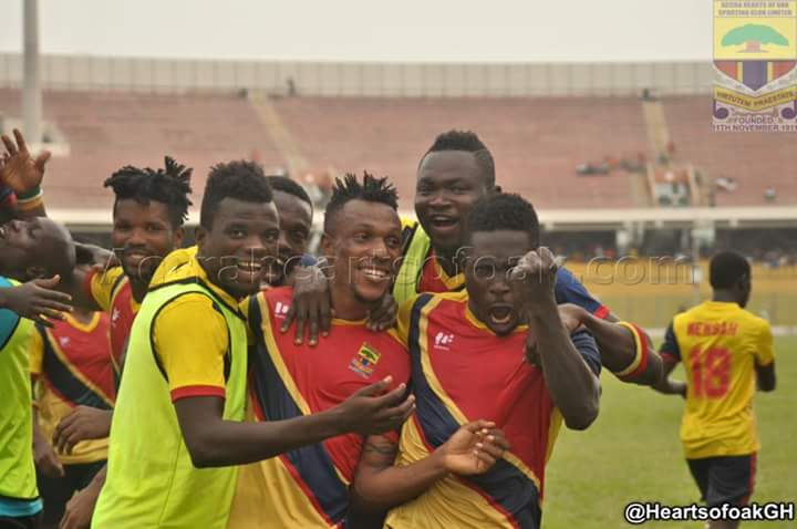 Sam Yeboah mobbed by teammates after scoring against Edubiase