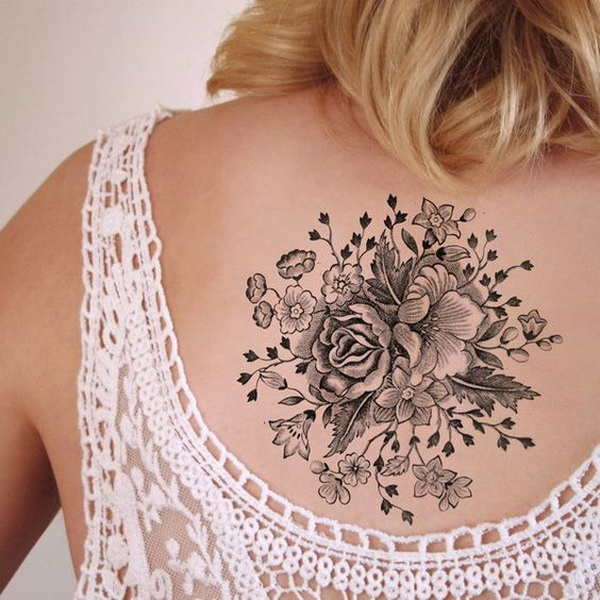 60 awesome back tattoo ideas for creative juice for Floral temporary tattoos