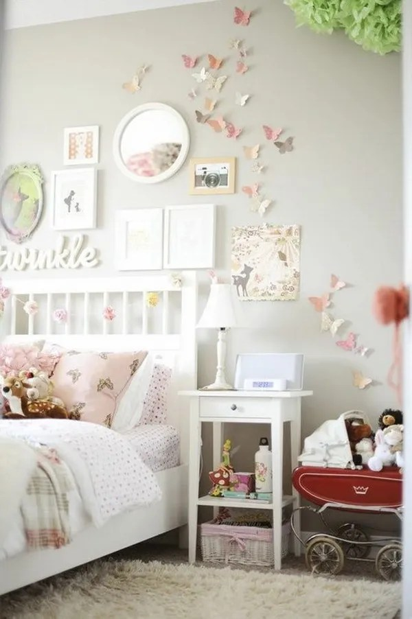 light pink and grey bedroom for teenage girls decorate the wall with