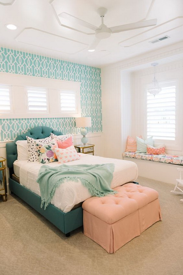 beautiful in this bedroom the turquoise patterned wallpaper gives