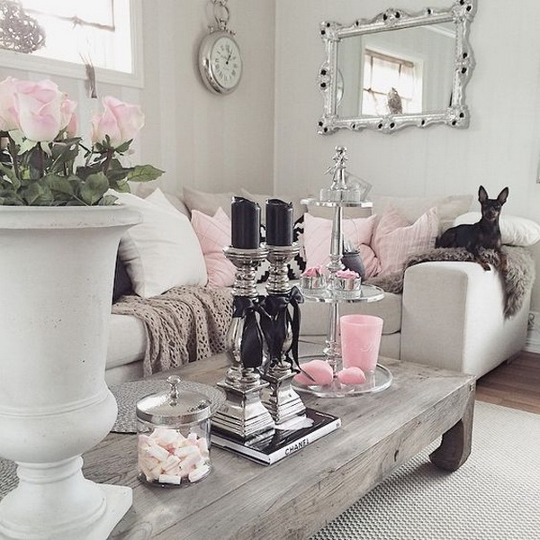 25 charming shabby chic living room decoration ideas for Living room ideas pink and grey