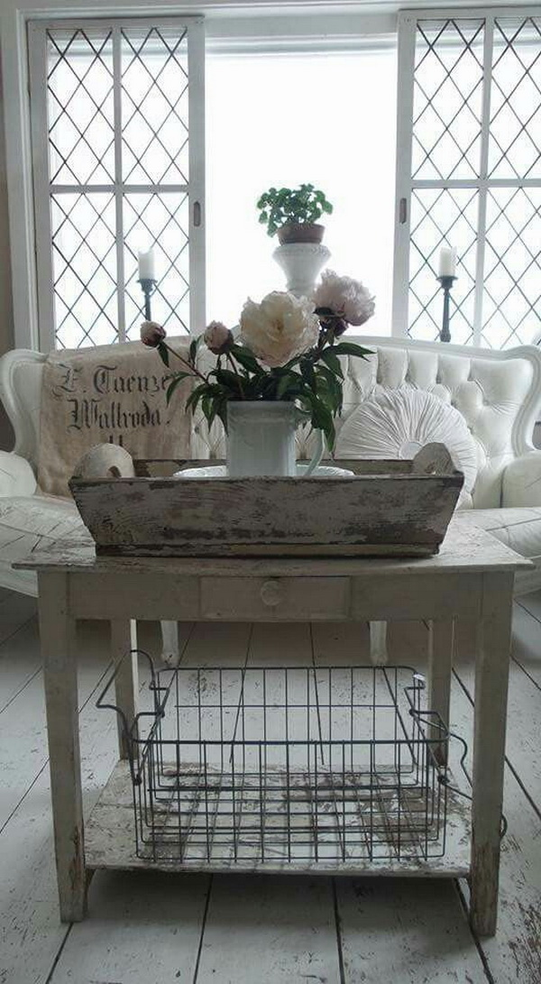 25 charming shabby chic living room decoration ideas for Vintage living room decor