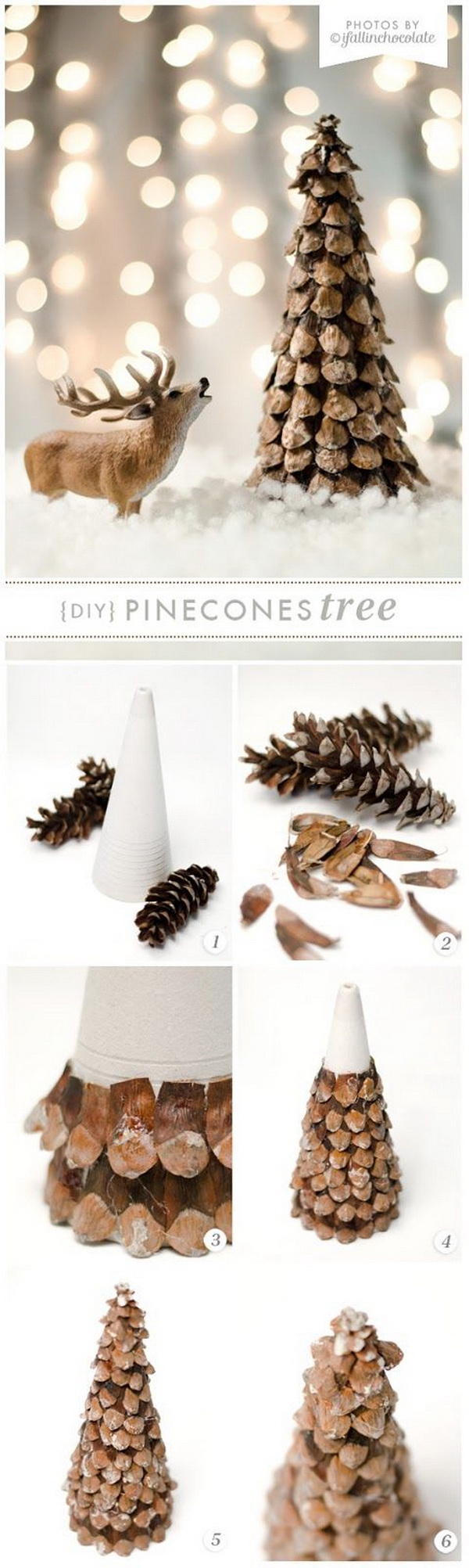 Festive diy pine cone crafts for your holiday decoration for Pine cone tree decorations