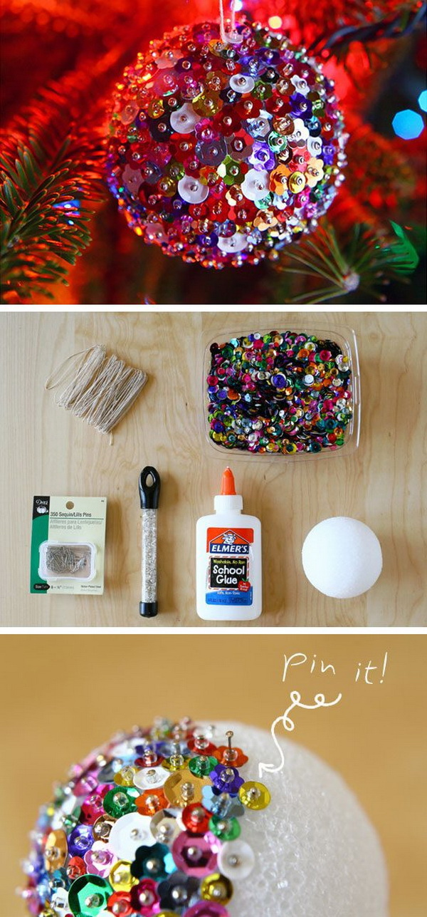 DIY Sequin Sparkles Ornament. A super easy way to add sparkle to your tree with our sequin sparkles ornames!
