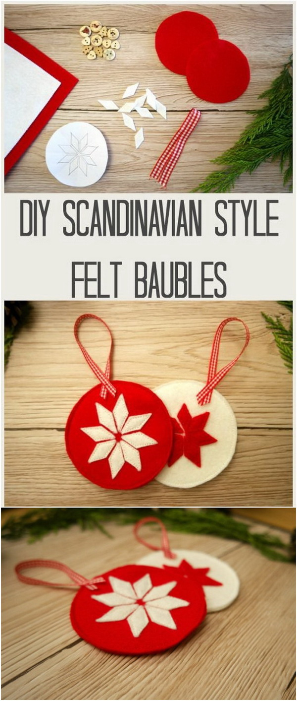 DIY Scandinavian Style Christmas Decorations. Make your season both merry and bright with these handmade Scandinavian design Christmas Decorations.