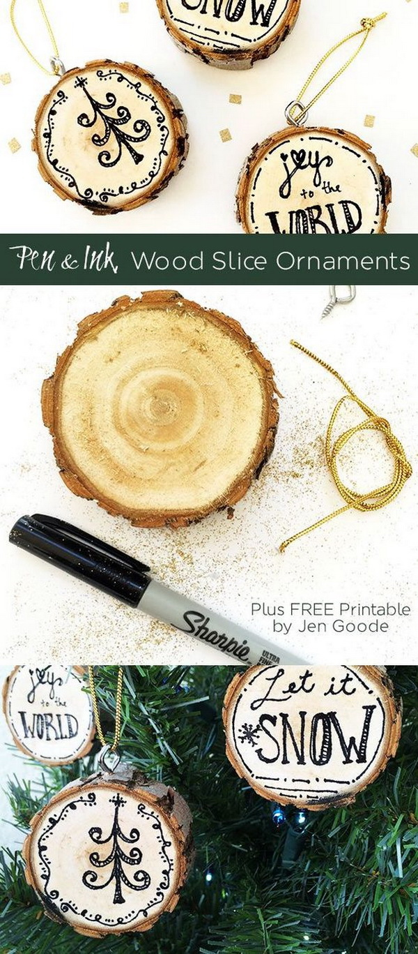 Ink Wood Slice Ornaments. These pen and ink wood slice ornaments are quick and fun to make in under 15 minutes! It will definitely add a touch of rustic warm to your Christmas decor.