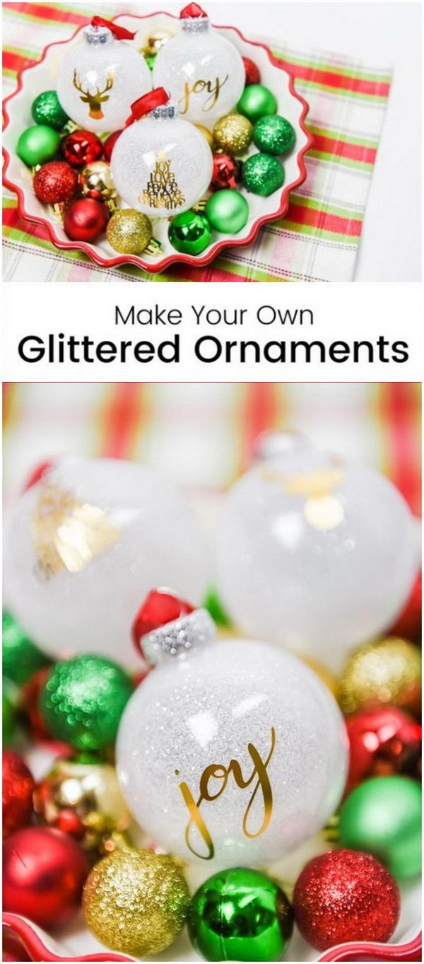 DIY Glittered Ornaments. Glitter ornaments always look stunning for the holiday decoration!