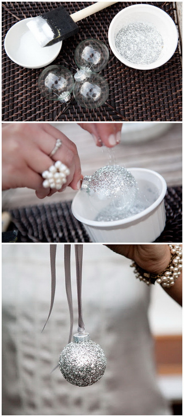 Holiday DIY Silver Glitter Ornaments. Add a touch of elegance to your holiday decoration with these silver glittered ornaments!