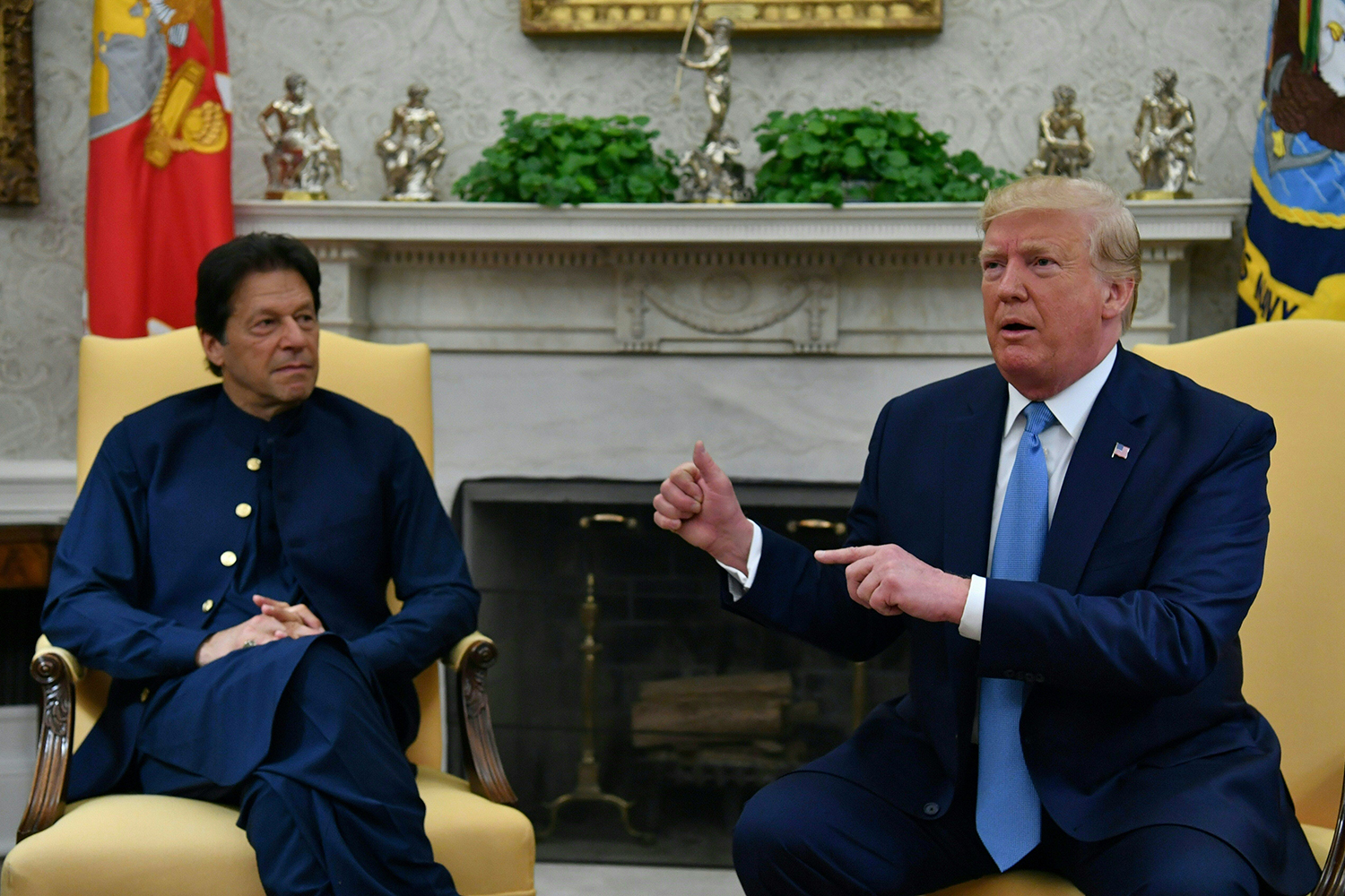 U.S. President Donald Trump speaks during a meeting with Pakistani Prime Minister Imran Khan at the White House on July 22.