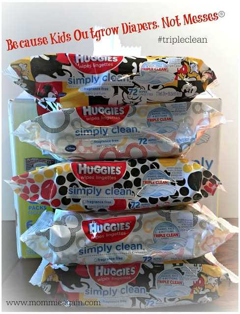 A stack of Huggies Wipes in Mickey Mouse Designer Packs