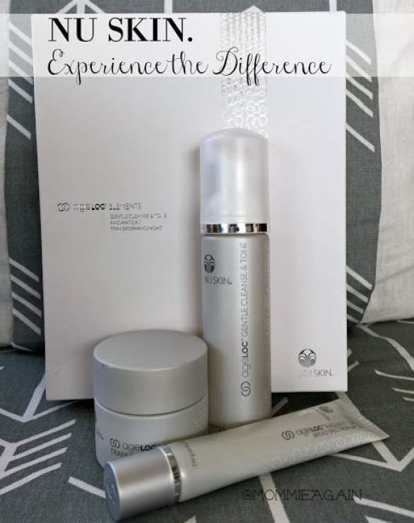 NU SKIN ageLOC products: cleanser, day and night cream pictured as a set.