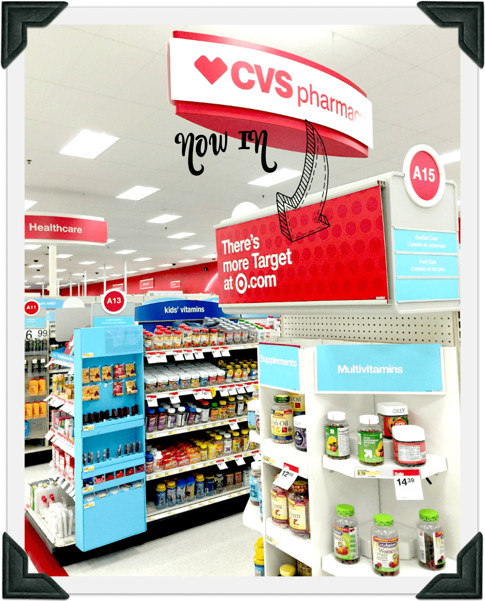 Inside a Target store showing CVS pharmacy sign