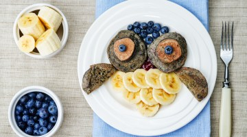 Meal Ideas for Toddlers -Blueberry Chocolate Pancakes Recipe from forkidsandmoms.com